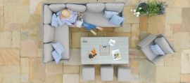 Maze Rattan - Oxford Corner Dining Set - With Armchair, Ice Bucket & Rising Table