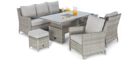 Maze Rattan - Oxford Sofa Dining Set - With Ice Bucket & Rising Table