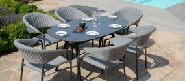 Maze Lounge - Outdoor Fabric Pebble 6 Seat Oval Dining Set - Flanelle