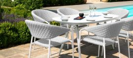 Maze Lounge - Outdoor Fabric Pebble 6 Seat Oval Dining Set - Lead Chine