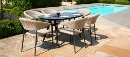 Maze Lounge - Outdoor Fabric Pebble 6 Seat Oval Dining Set - Taupe