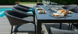 Maze Lounge - Outdoor Fabric Pebble 8 Seat Rectangular Dining Set - With Fire pit Table - Charcoal