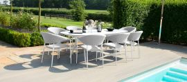 Maze Lounge - Outdoor Fabric Pebble 8 Seat Oval Dining Set - Lead Chine