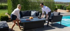 Maze Lounge - Outdoor Fabric Pulse 3 Seat Sofa Set with Rising Table - Charcoal