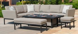 Maze Lounge - Outdoor Fabric Pulse Corner Dining Set - With Rising Table - Taupe