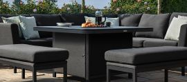 Maze Lounge - Pulse Deluxe Square Corner Dining Set - With Firepit Table - Charcoal