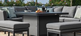 Maze Lounge - Pulse Deluxe Square Corner Dining Set - With Firepit Table - Flanelle