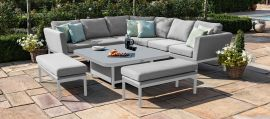Maze Lounge - Pulse Deluxe Square Corner Dining Set - With Rising Table - Lead Chine