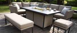 Maze Lounge - Outdoor Fabric Pulse Rectangular Corner Dining Set - With Fire pit Table - Taupe