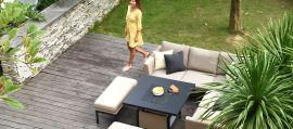 Maze Lounge - Outdoor Fabric Pulse Square Corner Dining Set - With Rising Table - Taupe