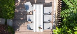 Maze Lounge - Outdoor Fabric Regal 6 Seat Rectangular Bar Set - Lead Chine
