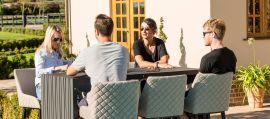 Maze Lounge - Outdoor Fabric Regal 6 Seat Rectangular Bar Set - Flanelle