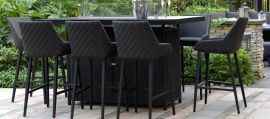 Maze Lounge - Outdoor Fabric Regal 8 Seat Rectangular Bar Set - With Fire Pit Table - Charcoal