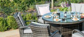 Maze Rattan - Texas 8 Seat Round Dining Set - With Ice Bucket & Lazy Susan - Grey