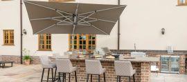 Maze Rattan - Titan 3m x 4m Rectangular Rotating Cantilever Parasol With LED Lights - Taupe