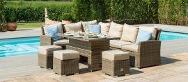 Maze Rattan - Kingston Corner Sofa Dining Set - With Rising Table - Tuscany