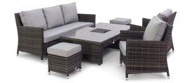 Maze Rattan - Venice Sofa Dining Set - with Ice Bucket & Rising Table - Grey