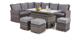 Maze Rattan - Victoria Rectangular Corner Dining Set - With Rising Table