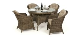 Maze Rattan - Winchester - Heritage 4 Seat Round Dining Set