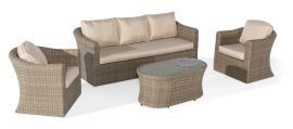 Maze Rattan - Winchester 3 Seat Set - With Firepit Coffee Table