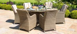 Maze Rattan - Winchester - Venice 6 Seat Round Dining Set - With Ice Bucket & Lazy Susan