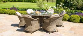 Maze Rattan - Winchester - Heritage 6 Seat Round Fire pit Dining Set - With Lazy Susan