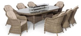 Maze Rattan - Winchester - Heritage 8 Seat Oval Fire pit Dining Set