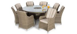 Maze Rattan - Winchester - Venice 8 Seat Round Dining Set - With Ice Bucket & Lazy Susan