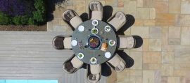 Maze Rattan - Winchester - Heritage 8 Seat Round Fire pit Dining Set - With Lazy Susan