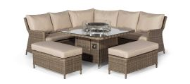 Maze Rattan - Winchester Royal Corner Dining Sofa Set - With Fire pit Table