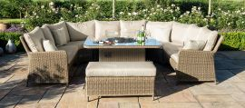 Maze Rattan - Winchester Royal U Shaped Sofa Set - With Fire Pit