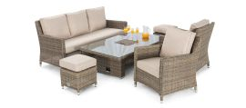 Maze Rattan - Winchester Sofa Dining Set - With Ice Bucket & Rising Table