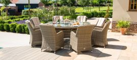 Maze Rattan - Winchester - Venice 8 Seat Round Fire pit Dining Set - With Lazy Susan