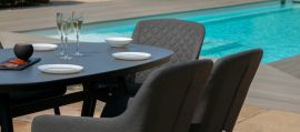 Maze Lounge - Outdoor Fabric Zest 6 Seat Oval Dining Set - Charcoal