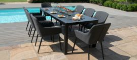 Maze Lounge - Zest 8 Seat Rectangular Dining Set - With Firepit Table - Charcoal