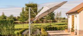 Maze Rattan - Zeus 3.5m Round Rotating Cantilever Parasol With LED Lights - Taupe