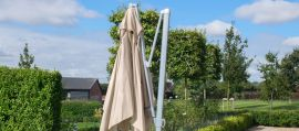 Maze Rattan - Zeus 3m Square Rotating Cantilever Parasol With LED Lights - Taupe