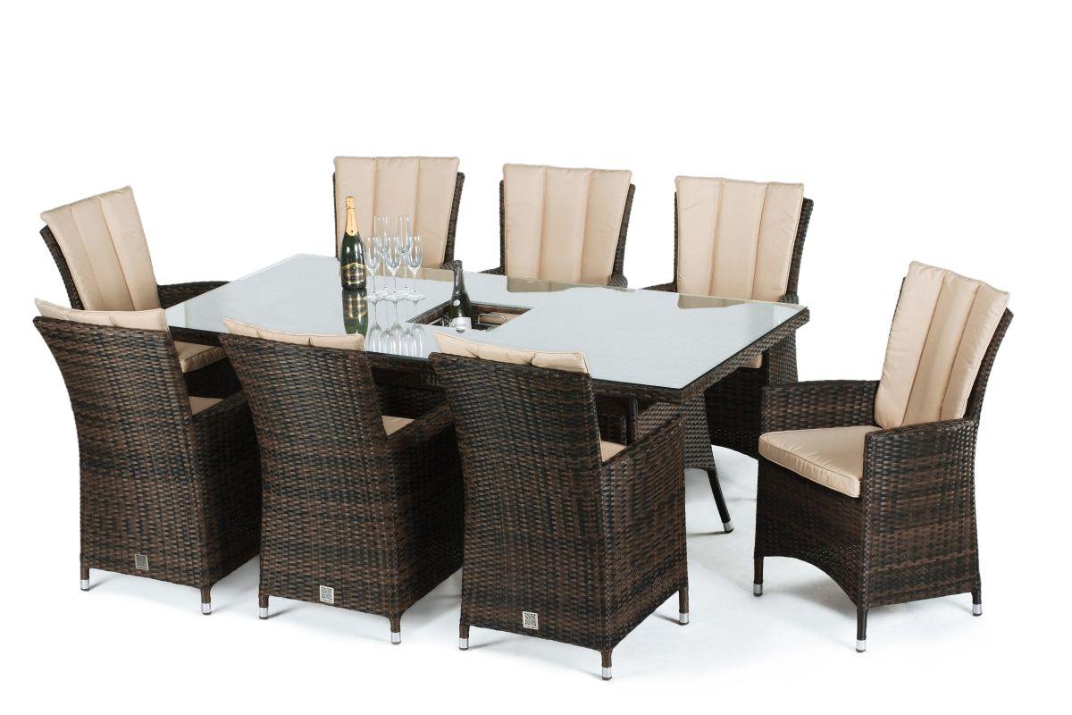 Maze Rattan - LA 8 Seat Rectangular Dining Set - With Ice Bucket - Brown