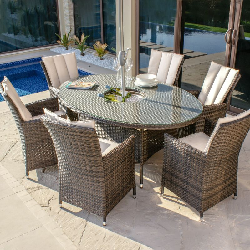 Maze Rattan - LA 6 Seat Oval Dining Set - With Ice Bucket - Brown