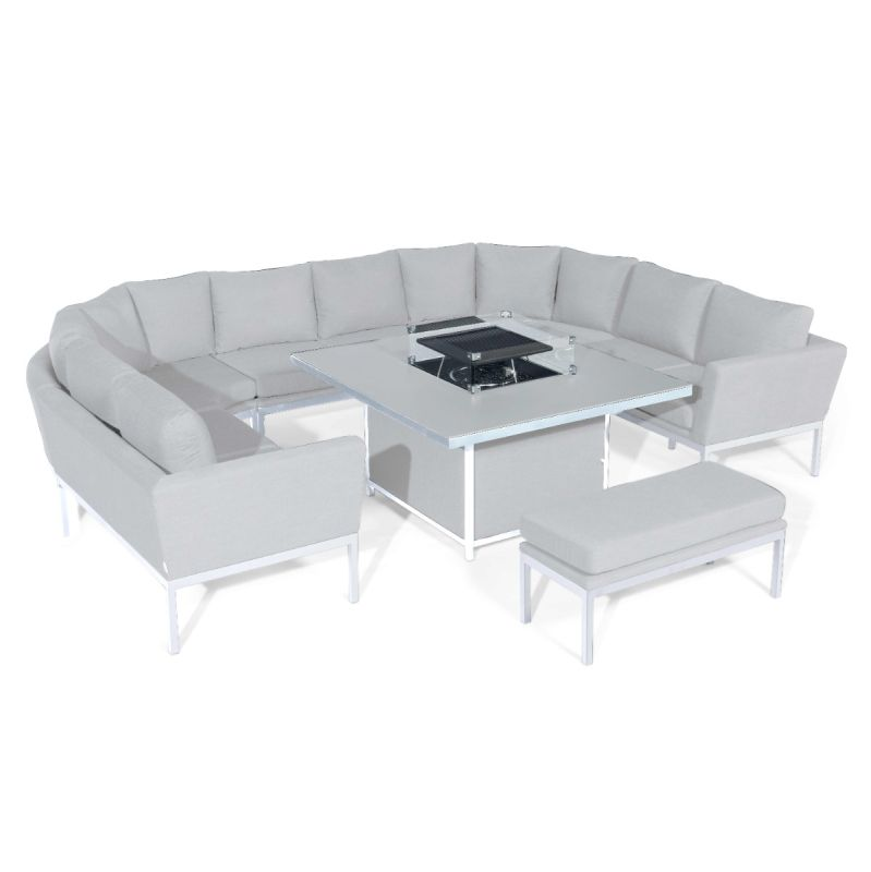 Maze Lounge - Outdoor Fabric Pulse U Shape Corner Dining Set - With Firepit Table - Lead Chine