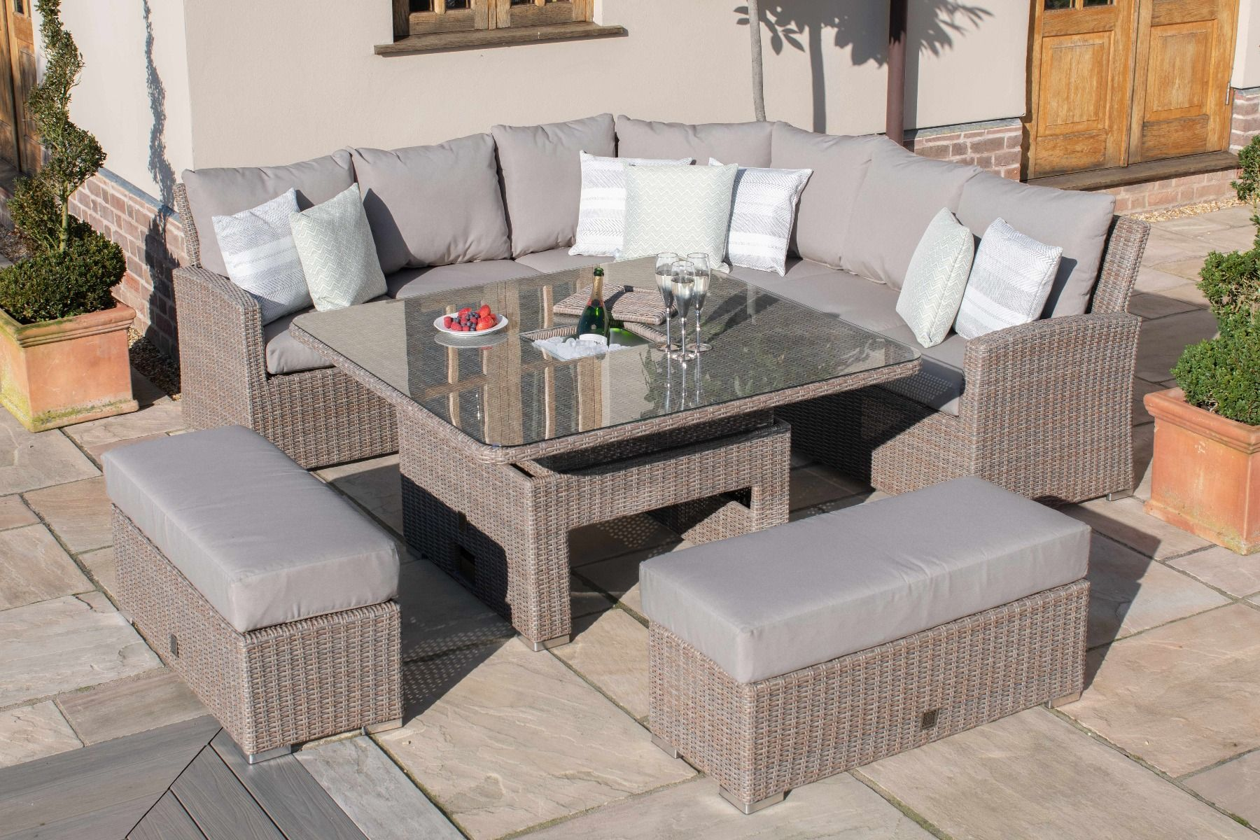Direct Wicker Outdoor Square Cooler Table Patio Wicker Bar Table ...