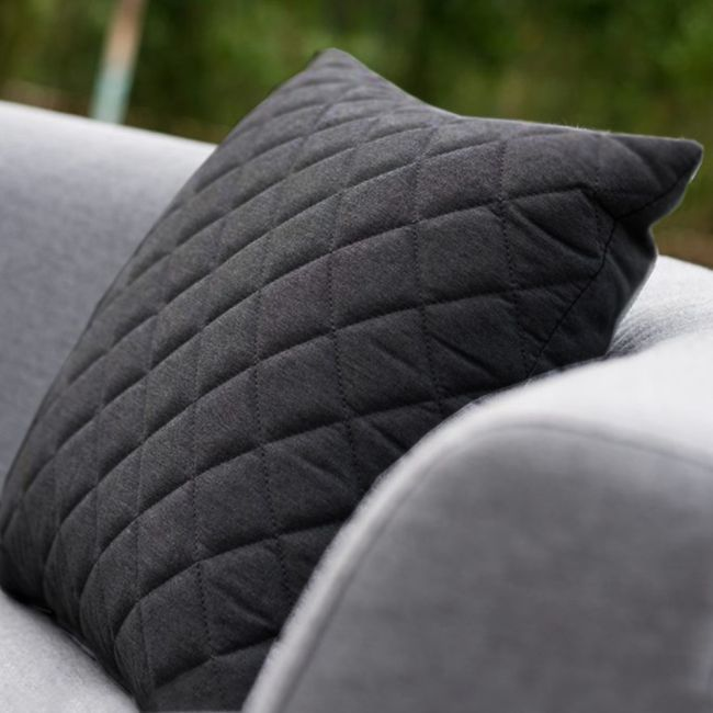 Maze Lounge - Pair of Outdoor Fabric Scatter Cushion Quilted - Charcoal