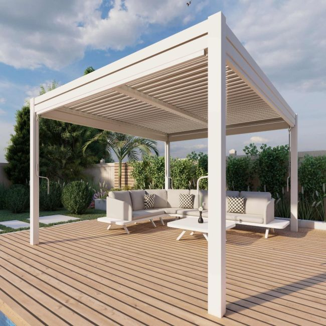 Maze - 3m x 4m Pergola - With 4 Drop Sides & LED Lighting - White