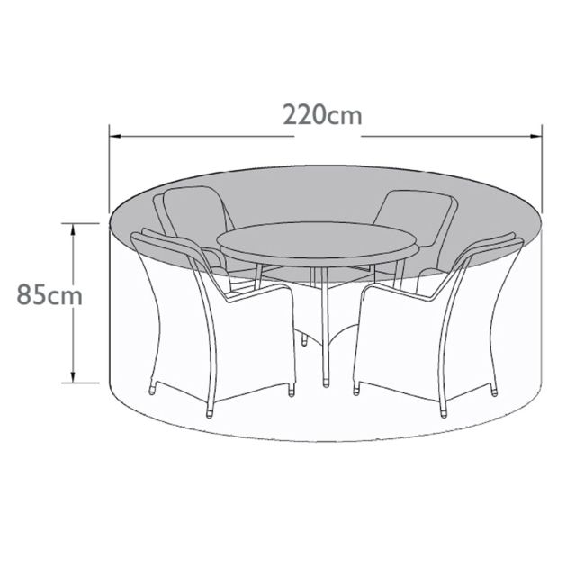 Maze Rattan - 4 Seat Round Dining Set - Winter Cover