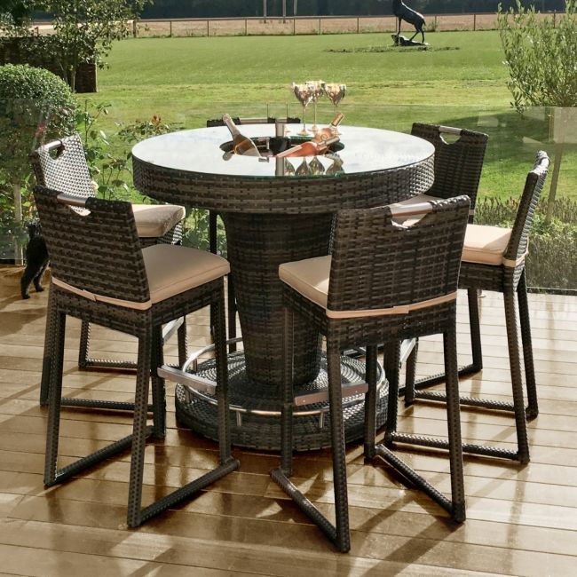 Maze Rattan - 6 Seat Round Rattan Bar Set - With Ice Bucket