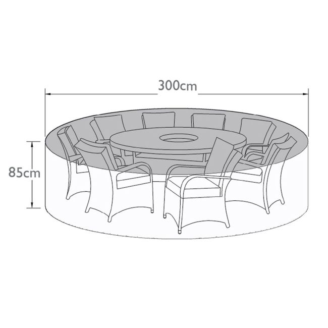Maze Rattan - 8 Seat Round Dining Set - Winter Cover