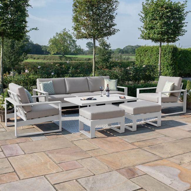 Maze - Amalfi 3 Seat Sofa Set with Rising Table - White