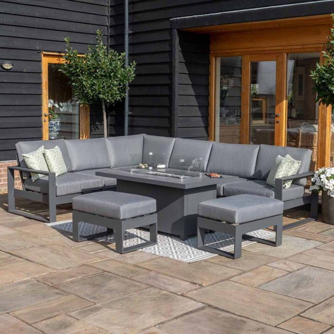 Maze - Amalfi Large Corner Dining Set - With Firepit Table & Footstools - Grey