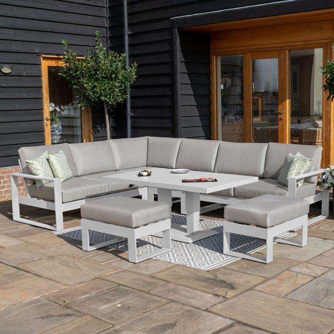Maze - Amalfi Large Corner Dining Set - With Rising Table & Footstools - White