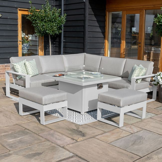 Maze - Amalfi Square Corner Dining Set - With Firepit Table & Footstools - White